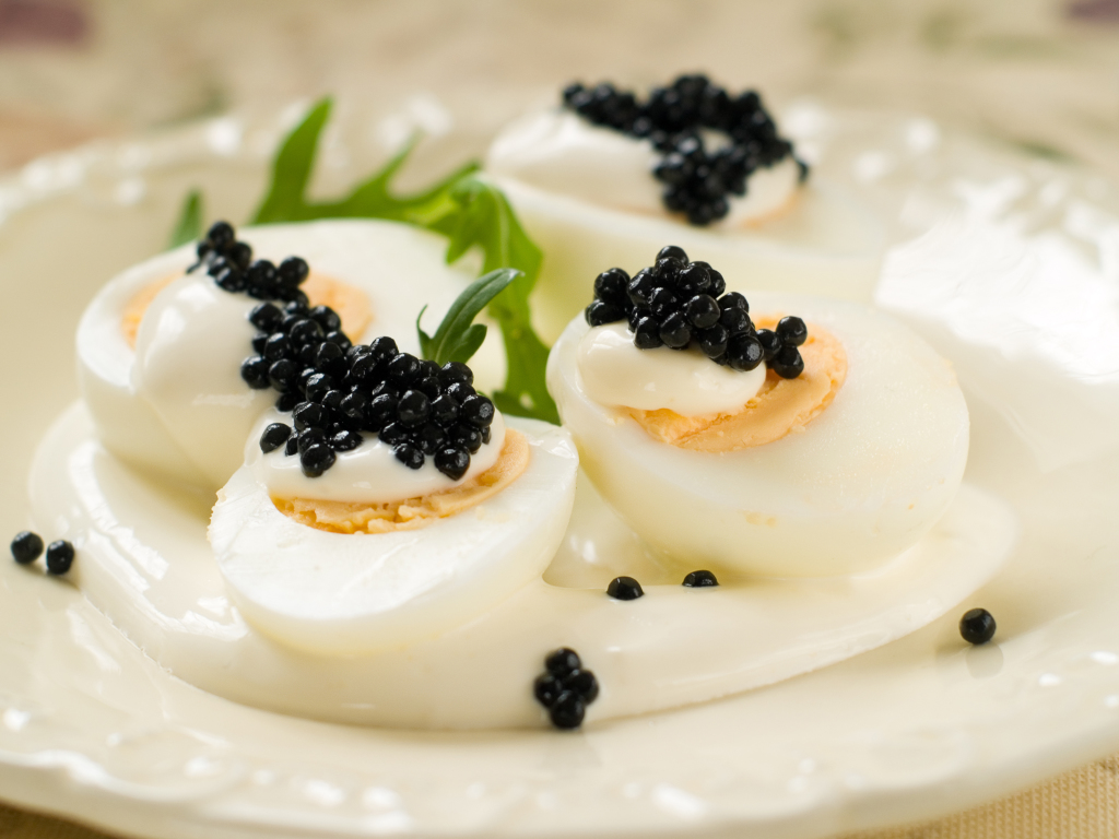 Hard Boiled Eggs with Caviar